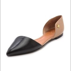 Tory Burch Viv Two-Tone D'Orsay Flat Pointed Toe